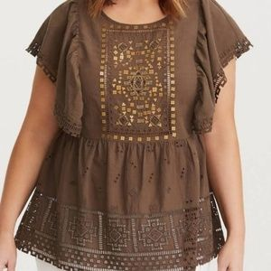 NWT Torrid Runway Collection Embellished Flowy Top